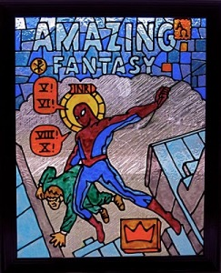 'Fantasy,' painted glass panel, 2010, 16x20 by Brandon Michael Barker.